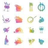 Conjunto de los iconos para los restaurantes libre illustration