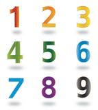 Conjunto de los iconos y de los números 1 a 9 de los elementos de la insignia Imagen de archivo libre de regalías