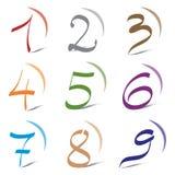 Conjunto de los iconos y de los números 1 a 9 de los elementos de la insignia Fotografía de archivo