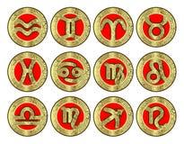 Conjunto de los iconos (zodiaco) Imagen de archivo