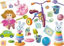 Conjunto de los juguetes de los niños Foto de archivo