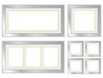 Conjunto de los marcos de plata Imágenes de archivo libres de regalías