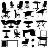 Conjunto de los muebles de oficinas ilustración del vector