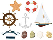 Conjunto de los objetos marinas. Fotografía de archivo libre de regalías