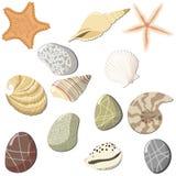 Conjunto de los objetos marinas. Fotos de archivo libres de regalías