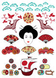 Conjunto de los ornamentos de Japón Imagen de archivo
