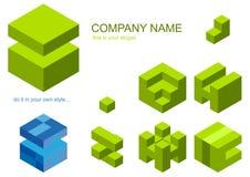 Conjunto de los pedazos del cubo para la insignia Fotografía de archivo