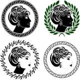 Conjunto de los perfiles romanos de la mujer Fotografía de archivo libre de regalías