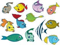Conjunto de los pescados stock de ilustración