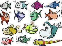 Conjunto de los pescados de la historieta Imágenes de archivo libres de regalías