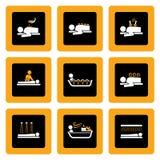 Conjunto de los pictogramas de Wellness&Spa en el negro I Imagen de archivo libre de regalías