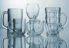 Conjunto de los platos de cristal Imagen de archivo libre de regalías