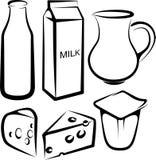Conjunto de los productos lácteos Imagen de archivo libre de regalías