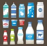 Conjunto de los productos lácteos Imagenes de archivo