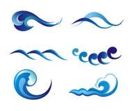Conjunto de los símbolos de la onda para el diseño aislado en blanco Foto de archivo libre de regalías