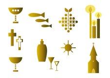 Conjunto de los símbolos religiosos (oro) Imagen de archivo libre de regalías