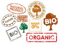 Conjunto de los sellos para el alimento biológico Fotografía de archivo libre de regalías