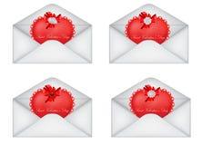 Conjunto de los sobres de la tarjeta del día de San Valentín decorativa del santo Imagen de archivo libre de regalías