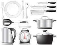 Conjunto de los utensilios de cocina Foto de archivo libre de regalías