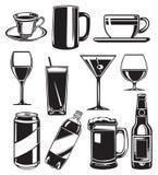 Conjunto de los vidrios para las bebidas Foto de archivo