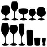 Conjunto de los vidrios para las bebidas alcohólicas Imagen de archivo