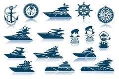Conjunto de lujo del icono del yate ilustración del vector