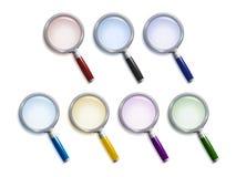 Conjunto de lupas coloreadas Imagen de archivo libre de regalías