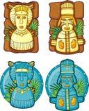 Conjunto de máscaras de los Aztecas Foto de archivo libre de regalías