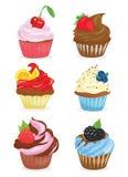 Conjunto de magdalenas Una colección de tortas de la historieta confitería Ejemplo del vector de la hornada dulce libre illustration