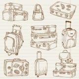 Conjunto de maletas de la vendimia Imagenes de archivo