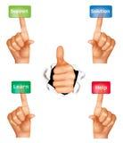 Conjunto de manos que empujan diversos botones. Imagen de archivo libre de regalías