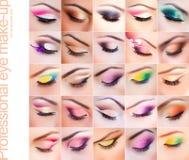 Conjunto de maquillaje colorido en ojos cerrados Foto de archivo libre de regalías