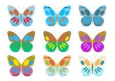 Conjunto de mariposas coloridas Imagen de archivo