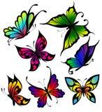 Conjunto de mariposas del color de tatuajes Imagen de archivo