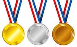 Conjunto de medallas stock de ilustración