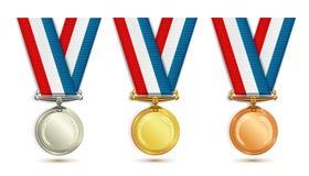 Conjunto de medallas Imagen de archivo libre de regalías