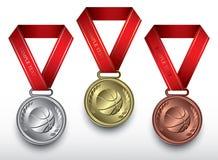 Conjunto de medallas del baloncesto Foto de archivo