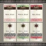 Conjunto de modelos de la escritura de la etiqueta del vino Imagenes de archivo