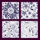 Conjunto de modelos inconsútiles florales ilustración del vector