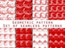 Conjunto de modelos inconsútiles geométricos Color rojo y blanco Para el papel pintado, ropa de cama, tejas, telas, fondos Fotos de archivo