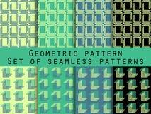 Conjunto de modelos inconsútiles geométricos Color verde y negro Para el papel pintado, ropa de cama, tejas, telas, fondos Imágenes de archivo libres de regalías