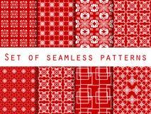 Conjunto de modelos inconsútiles Modelos geométricos Color rojo Para el papel pintado, ropa de cama, tejas, telas, fondos Vector Fotos de archivo libres de regalías