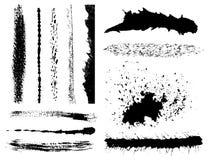 Conjunto de movimientos del cepillo de la tinta del grunge Imagen de archivo libre de regalías