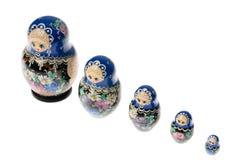 Conjunto de muñecas del matryoshka aisladas en blanco Imagen de archivo libre de regalías