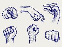 Conjunto de muchas diversas manos ilustración del vector