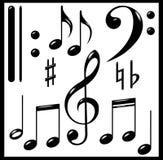Conjunto de muestras musicales. Negro. Imagen de archivo libre de regalías