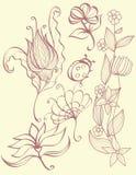 Conjunto de naturaleza y de elementos florales. Imagen de archivo
