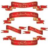 Conjunto de Navidad, cintas de las banderas del Año Nuevo de la Navidad Imágenes de archivo libres de regalías