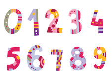 Conjunto de números coloridos Fotos de archivo