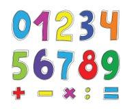 Conjunto de números del color Fotografía de archivo